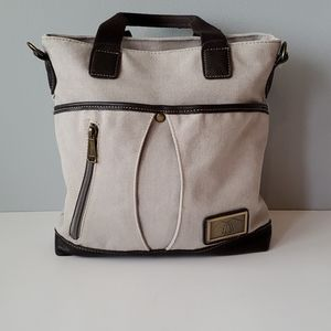 Cream and Brown Canvas Zip Top Utility Tote Bag